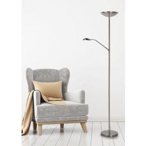 Lucide Zenith - lampadaire avec lampe de lecture - 180 cm - 20W et 4W LED incl. - chrome mat