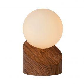 Lucide Len - lampe de table - 16 cm - bois et opale