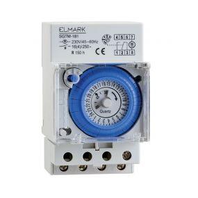 Elmark SGTM-181 - minuterie analogique avec pile et réglage du jour - 16A - 230V